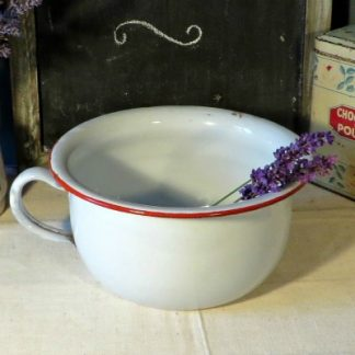 French Enamel Chamber Pot/Plant Holder.  A super white French enamel chamber pot with a  red rim which is perfect for decoration in your home or as a cute and unusual plant pot in your garden.